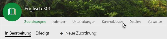 "Registerkarte ""Kursnotizbuch"""