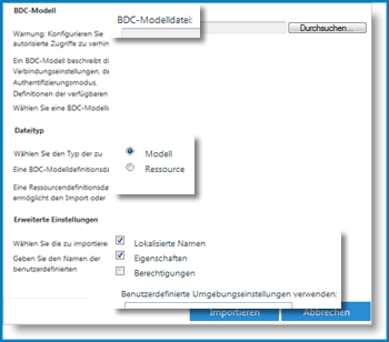 Screenshot der Ansicht 'BCS-Modell'.