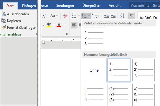"""Auf der Registerkarte """"Start"""" wird der Katalog """"Nummerierungen"""" angezeigt."""