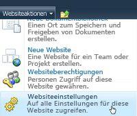 Menü 'Websiteeinstellungen'