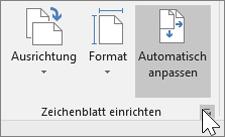 """Screenshot der Symbolleiste """"Zeichenblatt einrichten"""" mit ausgewähltem """"Automatisch anpassen"""""""