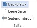 """Klicken Sie auf der Registerkarte EINFÜGEN auf """"Deckblatt""""."""