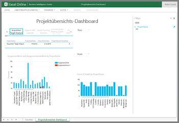 """Die Arbeitsmappe """"Projektübersichtsdashboard"""" enthält Informationen zu Vorgängen auf hoher Ebene für Ihre Projekte"""