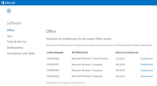 Verwalten aktiver Office 365-Installationen