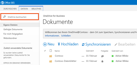 "Screenshot des Felds ""OneDrive-Abfrage"" in Office 365"