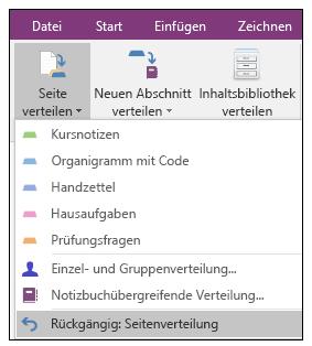 Screenshot zum Rückgängigmachen einer Seitenverteilung im Add-In für OneNote-Kursnotizbücher.