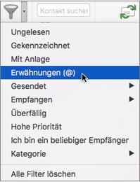 """Verwenden von """"Erwähnt"""" im Menü """"E-Mails filtern"""" zum Suchen von E-Mails, in denen Sie @erwähnt werden"""