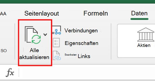 Befehl ' alle Resfresh ' im Menüband in Excel für Mac