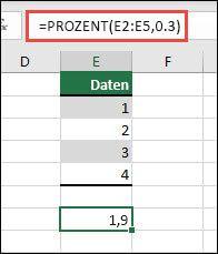 Excel PERCENTILE-Funktion, um das 30. Perzentil eines bestimmten Bereichs mit =PERCENTILE(E2:E5;0,3) zurückzukehren.