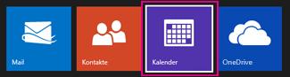 Outlook.com-Hauptmenü – Kalender auswählen