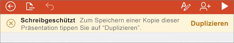 Zeigt die schreibgeschützte Benachrichtigung nach dem Öffnen einer ODF-Datei in PowerPoint für iPhone an