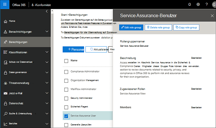 Service Assurance-Benutzer - hinzufügen