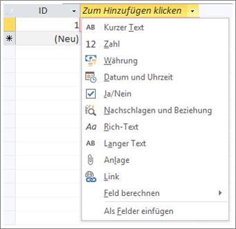 """Bildschirmausschnitt des Datentyp-Dropdownmenüs """"Zum Hinzufügen klicken"""""""