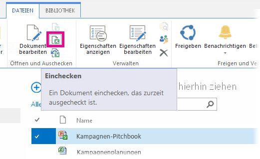 Datei einchecken
