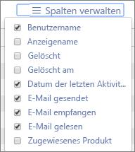 Office365-Berichte– Verwalten der Spalten für E-Mail-Aktivitätsberichte