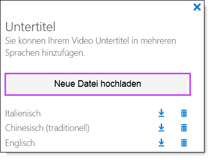 Office 365 Video, Untertitelliste
