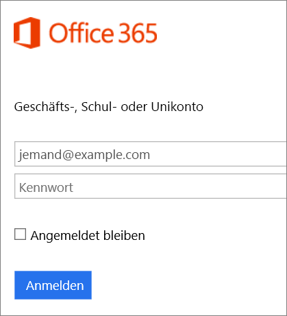Screenshot der Office 365-Anmeldeseite