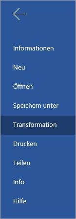 """Schaltfläche """"Transformieren"""" zum Umwandeln von Word Online-Dokumenten in Sway"""