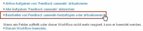 Link 'Aktive Aufgaben von 'Genehmigung' aktualisieren' auf der Workflowstatusseite