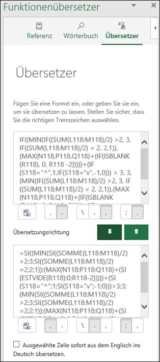 """Bereich """"Übersetzer"""" des Funktionenübersetzers mit einer aus dem Englischen ins Französische konvertierten Funktion"""