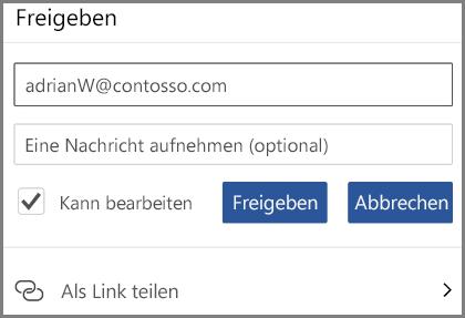 """Abbildung von Freigeben per E-Mail, E-Mail-Adresse eingeben und Aktivieren von """"Kann bearbeiten"""""""