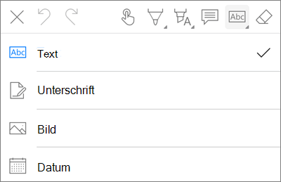 OneDrive für iOS PDF-Markup Text (Menü)