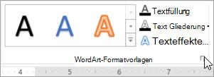 Markieren das Startprogramm für das Dialogfeld ' WordArt-Formate