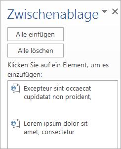 """Zeigt den Aufgabenbereich """"Zwischenablage"""" mit kopierten Inhalten."""