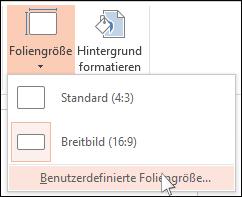 """Wählen Sie auf der Registerkarte """"Entwurf"""" des Menübands den Befehl """"Foliengröße"""" und dann """"Benutzerdefinierte Foliengröße"""" aus."""