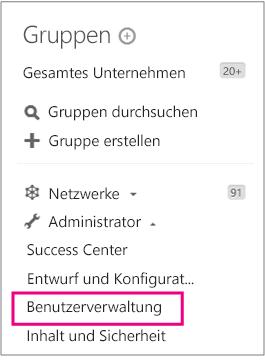 """Yammer-Administratormenü, """"Benutzerverwaltung"""" hervorgehoben"""