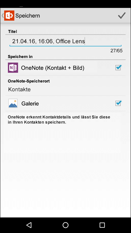 "Screenshot: Funktion ""In Kontakte exportieren"" in Office Lens für Android."