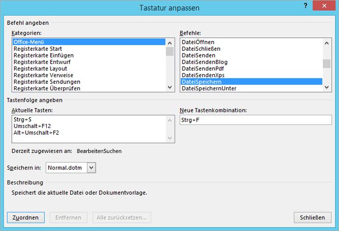 """Erstellen einer neuen Tastenkombination im Dialogfeld """"Tastatur anpassen"""""""