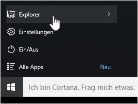 Startmenü mit hervorgehobenem Datei-Explorer