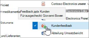 zeigen Sie mit dem grünen Pfeil auf das Symbol, und sehen Sie, wer eine Datei ausgecheckt hat.