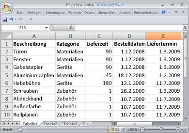 Tabellenblatt mit den Bestelldaten, die als Liste importiert werden