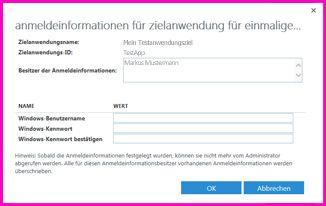 """Screenshot des Dialogfelds """"Anmeldeinformationen für Zielanwendung für einmaliges Anmelden (Gruppe) festlegen"""": Hier können Sie die Anmeldeinformationen für eine externe Datenquelle festlegen."""