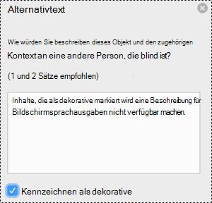 """Kontrollkästchen """"als dekorativ markieren"""" im Bereich """"Alternativtext"""" in Excel für Mac"""