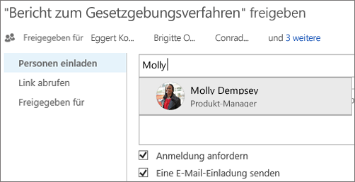 "Die OneDrive for Business-Registerkarte ""Personen einladen"""