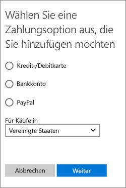 """Menü """"Zahlungsoption auswählen"""" mit den in den USA verfügbaren Optionen"""