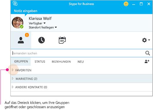 Skype for Business-Hauptfenster, klicken Sie auf das Dreieck zum Erweitern oder Reduzieren einer Gruppe