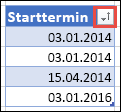 """""""Aufsteigend sortieren"""" wird auf der Schaltfläche """"Filter"""" mit einem nach oben weisenden Pfeil angezeigt."""