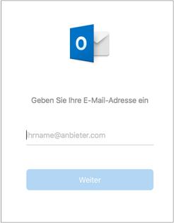Im ersten angezeigten Bildschirm werden Sie zur Eingabe Ihrer E-Mail-Adresse aufgefordert.