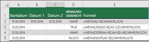 Beispiele für die Verwendung von WENN mit UND, ODER und NICHT zum Auswerten von Datumswerten