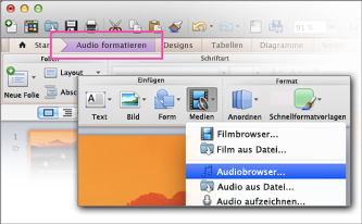 Audiobrowser öffnen