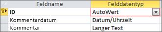 """Primärschlüssel """"AutoWert"""" gekennzeichnet als 'ID' in der Entwurfsansicht einer Access-Tabelle"""