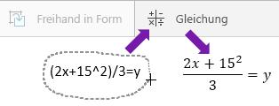 """Eingegebene Formel, Schaltfläche """"Gleichung"""" und konvertierte Formel"""
