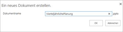 Eingeben eines Dateinamens