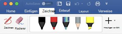 """Stifte und Textmarker auf der Registerkarte """"zeichnen"""" in Office 365 für Mac"""