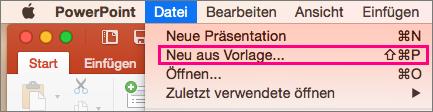 """Zeigt die Option """"Neu aus Vorlage"""" unter """"Datei"""" in PowerPoint 2016 für Mac an"""