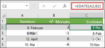 Verwenden Sie EDATUM, um Monate von einem Datum hinzuzufügen oder zu subtrahieren. In diesem Fall ist = EDATUM (A2; B2), wobei a2 ein Datum ist, und B2 die Anzahl der Monate, die addiert oder subtrahiert werden sollen.